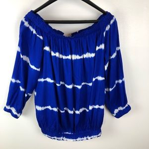 Blue Striped Lumiere Off Shoulder Blouse Sz L NWT
